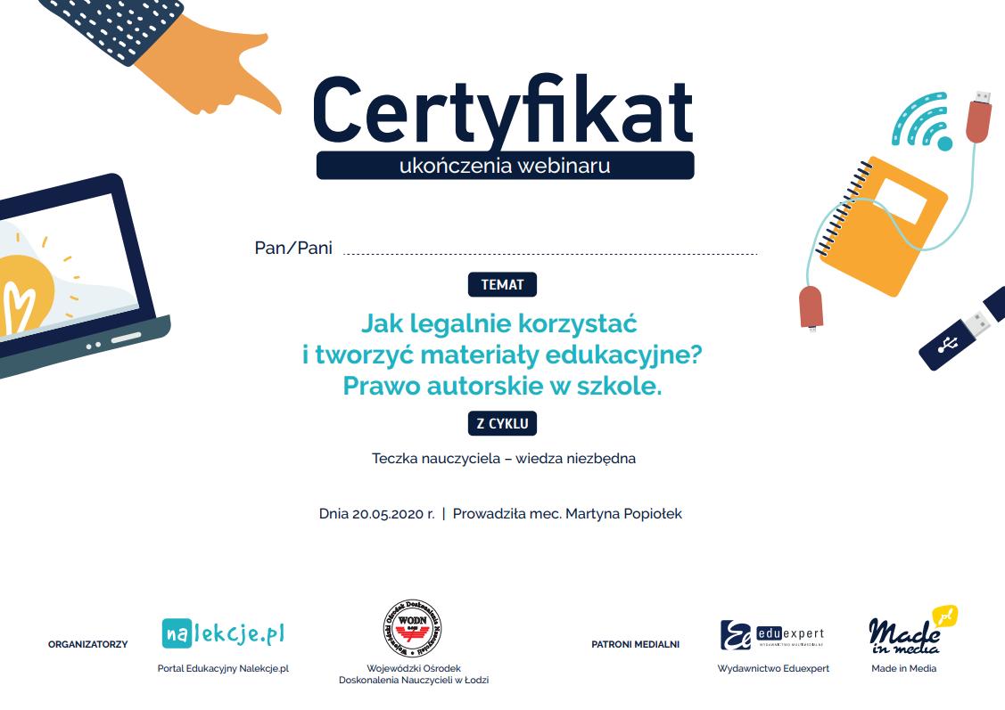 Certyfikat_Prawo autorskie w szkole_webinar